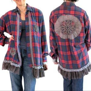 Upcycled distressed shabby chic flannel size XL